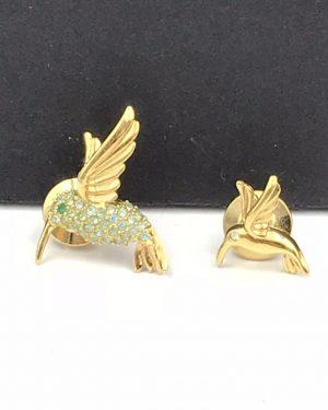 Hummingbird Brooch Tack Pin Smithsonian Gold Tone Green Rhinestones Avon