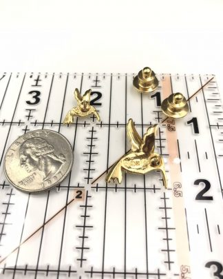 Hummingbird Brooch Tack Pin Smithsonian Gold Tone Green Rhinestones Avon