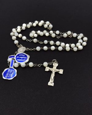 Sterling Silver Mother of Pearl Rosary DTC Original Case Cross Prayer Religious