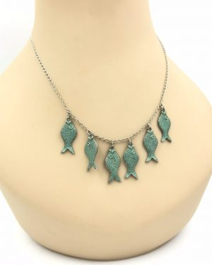 Italy Carezzio 925 Sterling Silver Fish Charm Necklace 18″