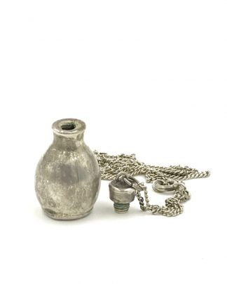 Vintage Perfume Cologne Vial Pendant Bottle Sterling Silver Necklace 19""