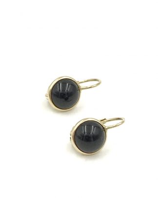 14k Yellow Gold Onyx Leverback Earrings Style 1011