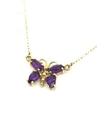 Estate 14k Yellow Gold Purple Gemstone BUTTERFLY Pendant Necklace