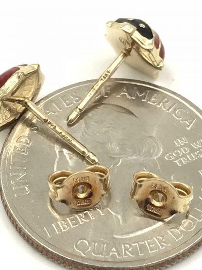 Italian Ladybug Earrings 14k Yellow Gold Post Red Black Enamel Italy