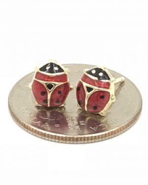 Italian Ladybug Earrings 14k Yellow Gold Post Red Black Enamel Italy 1.37g