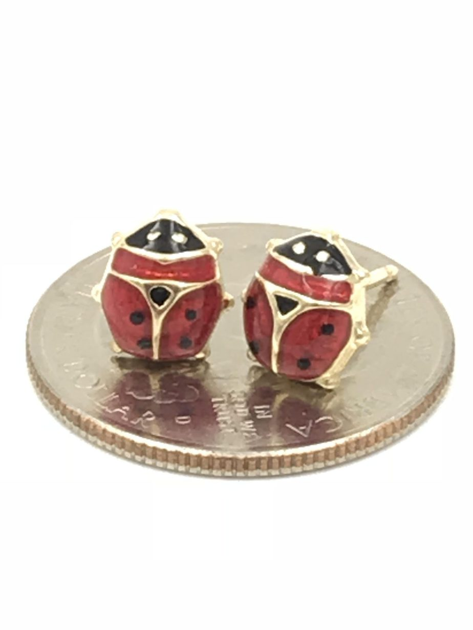 0ea8afcfbbc50 Italian Ladybug Earrings 14k Yellow Gold Post Red Black Enamel Italy 1.37g