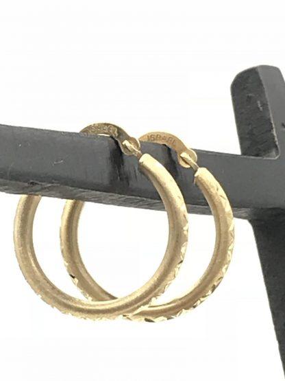 Hoop Earrings Israel 10K Yellow Gold Diamond Cut Design Jewelry Minimalist