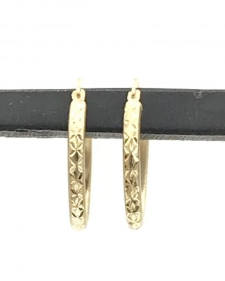 Hoop Earrings Israel 10K Yellow Gold Diamond Cut Design Jewelry Minimalist