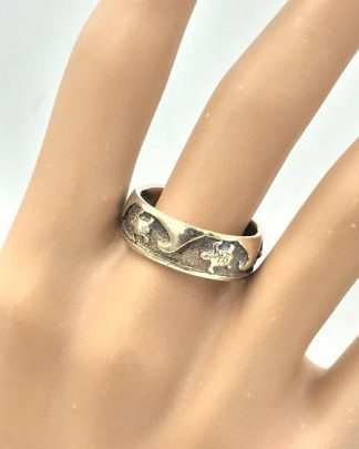 Beautiful Sterling Silver Wave Turtles Eternity Ring 925 Size 8 for sale