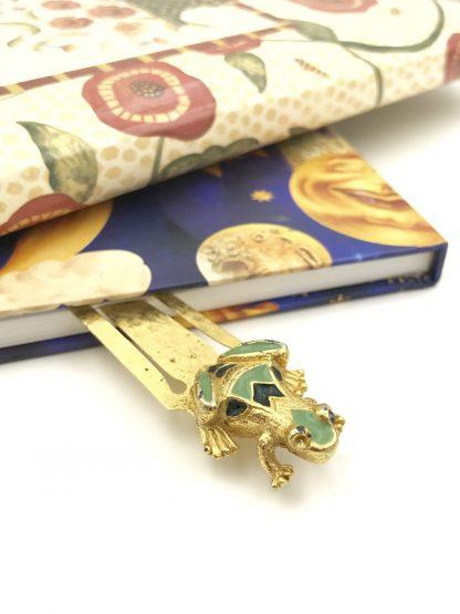 Vintage Florenza Frog Diary Portrait Bookmark Paper Holder Gold Tone