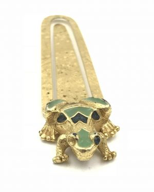 Vintage Florenza Frog Diary Portrait Bookmark Paper Holder Gold Tone