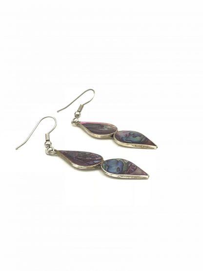 Mexico Alpaca Vintage Inlaid Abalone Shell Earrings Dangle Teardrop