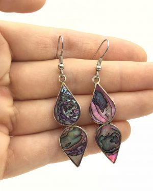 Mexico Alpaca Vintage Inlaid Abalone Shell Earrings Dangle Teardrop
