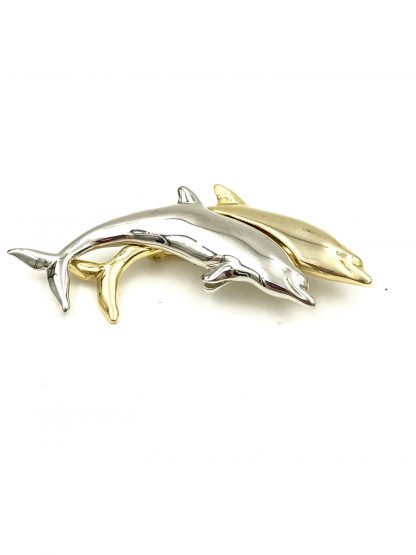 Vintage LC Liz Claiborne Dolphin Porpoise Pin Brooch Gold Silver Tone