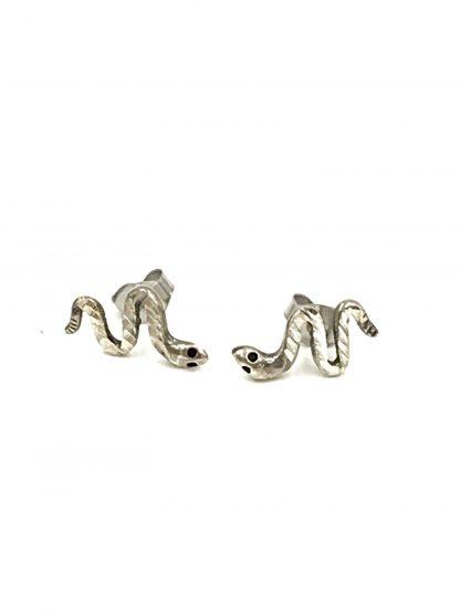 Vintage Serpent Snake Sterling Silver Post Stud Earrings