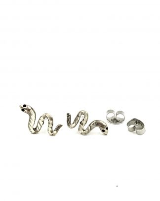 Vintage Serpent Snake Sterling Silver Post Stud Earrings