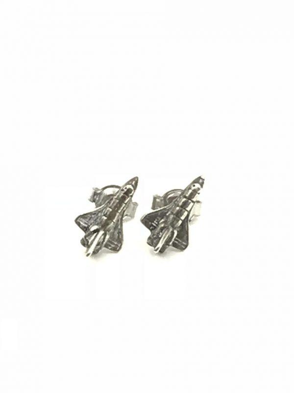 Vintage Classic Mini Spaceship Rocket Airplane Stud Earrings 925 Sterling Silver
