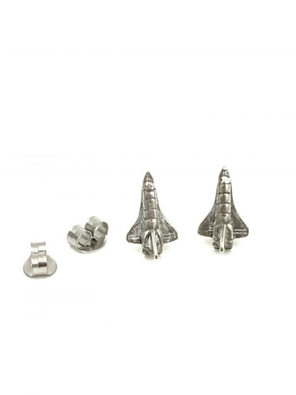 Vintage Classic Mini Spaceship Rocket Airplane Stud Earrings 925 Sterling Silver