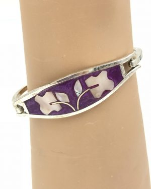 Vintage Mexico Alpaca Inlaid Abalone Shell Flower Petal Bracelet