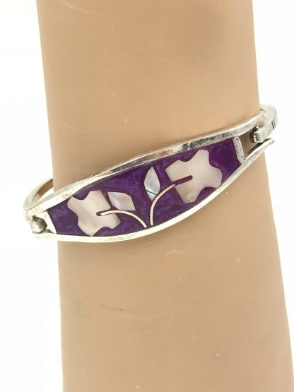 Vintage Mexico Alpaca Inlaid Abalone Shell Flower Petal Bracelet (Signed)