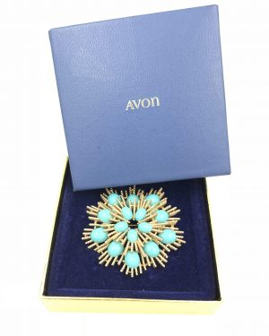 Vintage Signed Avon Azurene Blue Cab Robins Egg Jeweled Moghul Brooch Starburst Original Box