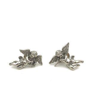 1980's VINTAGE Signed Avon Silver Cherub Angel Lapel Pin