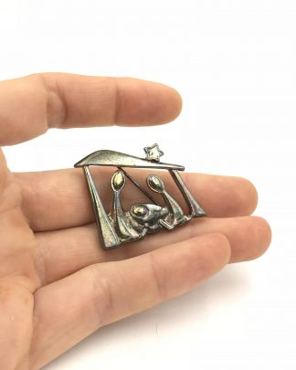 Nativity Scene Christmas Holy Family Brooch Pin Signed Premier Designs