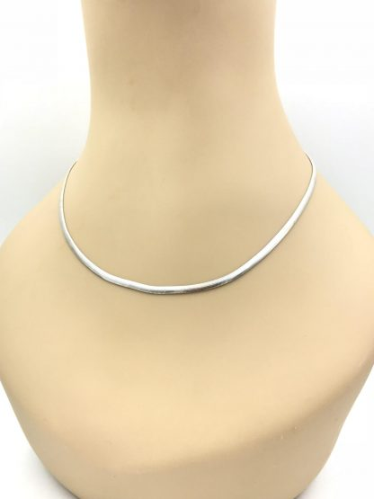 "Solid Sterling Silver 18"" Flat Herringbone Chain Necklace Italy 3 mm wide 8 grams"