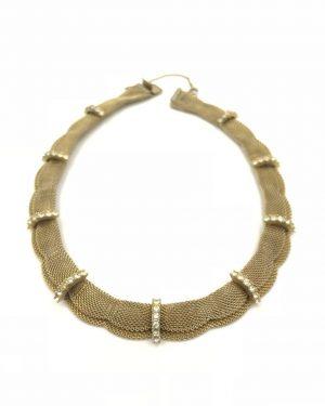 Denbe Signed Mesh Choker Glass Rhinestone Necklace 15″