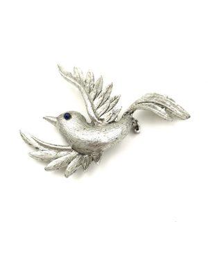 Delightful JJ Jonette Jewelry Silver Pewter Bird Brooch Pin