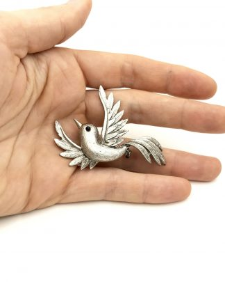 Delightful JJ Jonette Jewelry Silver Pewter Bird Brooch Pin