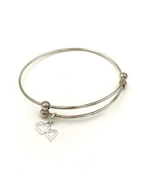 Sterling Silver Double Hearts Charm Expandable Bangle Bracelet Signed 925 LATH