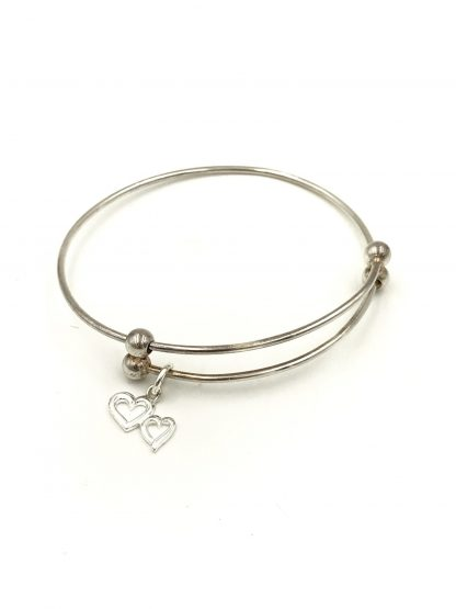 Sterling Silver Double Hearts Expandable Bangle Bracelet Signed 925 LATH