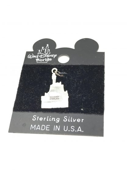 Vintage Walt Disney World Castle Detailed Relief Flat Back Sterling Silver Charm Made in USA