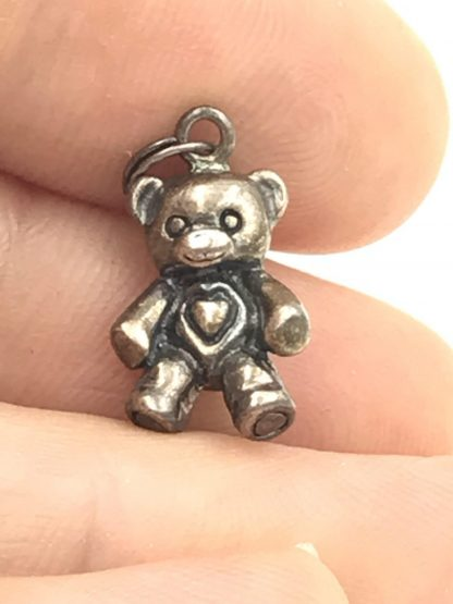 Sterling Silver Teddy Bear Heart Jezlaine Signed Jez Solid 3-D Original Card