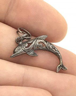 Vintage Jezlaine Cutout Filigree Dolphin Pendant Charm Bracelet Sterling Silver Signed Jez 925