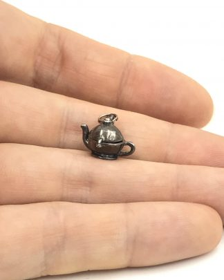 Vintage Jezlaine Sterling Silver 3D Teapot Charm Mechanical Parts 925 Signed Jez