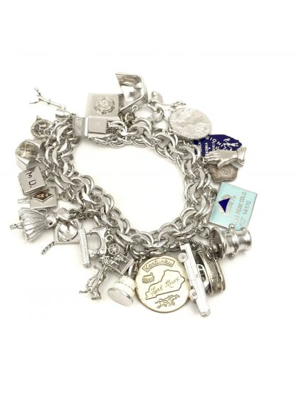 Vintage Elco Sterling Silver Charm Bracelet Double Link 23 Charms Mechanical Movable