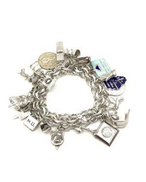 Vintage Elco Sterling Silver Souvenir Charm Bracelet 23 Charms