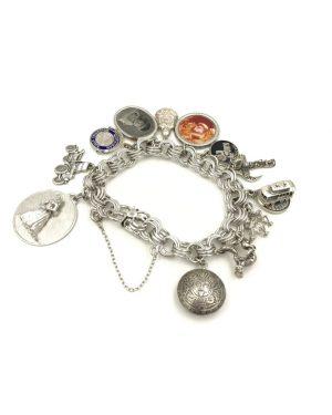 Vintage Elco Sterling Silver Souvenir Charm Bracelet 12 Charms