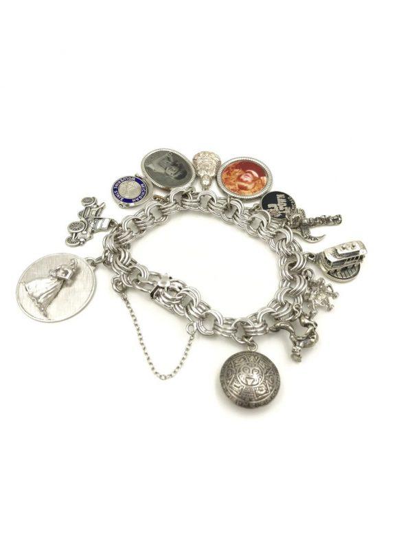 Vintage Elco Sterling Silver Charm Bracelet for sale