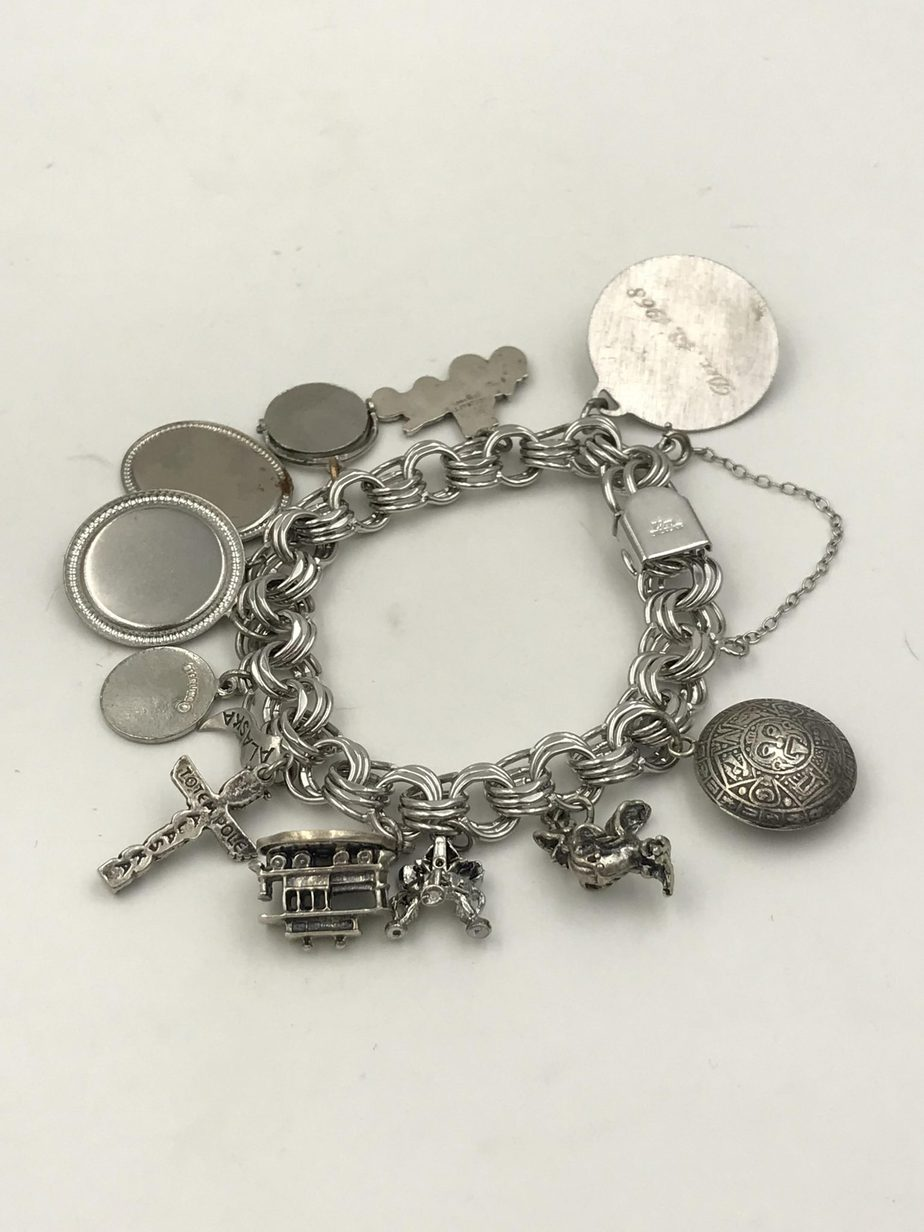 Vintage Elco Sterling Silver Charm Bracelet Three Link 12 Charms Mechanical Movable Moon Landing 1960 S Mackinac Island Danecraft Old Town Totem Pole