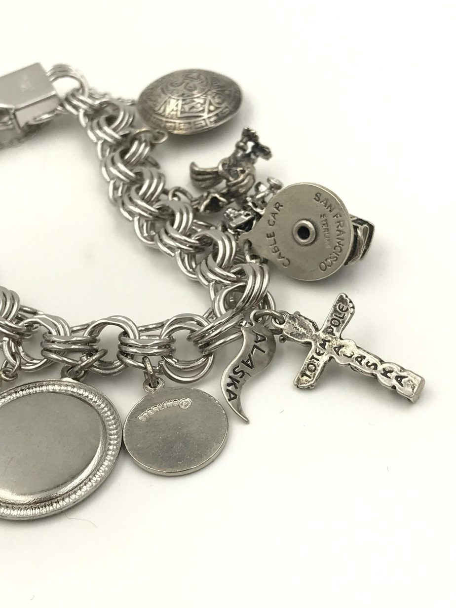 8fece731f0236 Vintage Elco Sterling Silver Charm Bracelet Three Link 12 Charms Mechanical  Movable Moon Landing 1960's Mackinac Island Danecraft Old Town Totem Pole