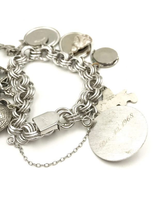 Vintage Elco Sterling Silver Charm Bracelet Three Link 12 Charms Mechanical Movable