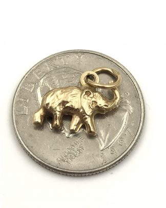 Gold Elephant Charm Trunk Up Trumpeting Good Luck Pendant 3-D Solid 14K