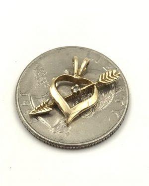 Modern 10k Yellow Gold Natural Diamond Open Heart Arrow Small Ladies Pendant