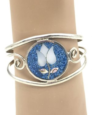 Beautiful Cuff Bracelet Mother of Pearl Abalone Flower Blue Inlay Signed Alpaca Mexico