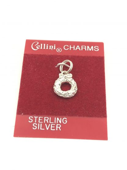Cellini CHRISTMAS WREATH Charm Pendant BOW Bracelet 925 STERLING SILVER Original Card Jewelry small