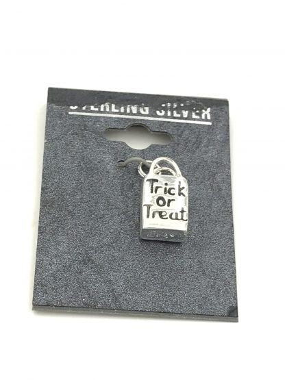 Halloween Sterling Silver Trick Treat Bag 3D Charm Original Card