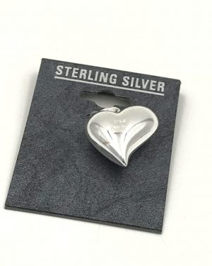 Puffed Heart Charm Love Sterling Silver Signed Jez 925 TH
